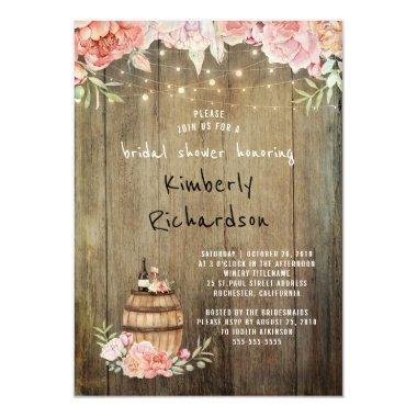 Wine Barrel Rustic String Lights Bridal Shower Invitations