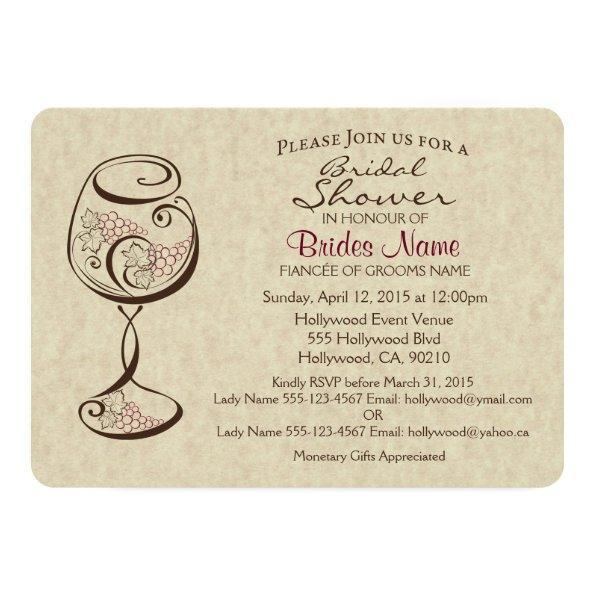 236 wine cheese bridal shower invitations