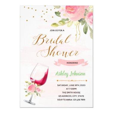 Wine theme bridal shower Invitations