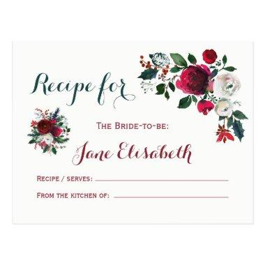 Winter burgundy floral bride to be recipe Invitations