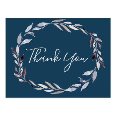 Winter Greenery Wreath | Blue Thank You PostInvitations