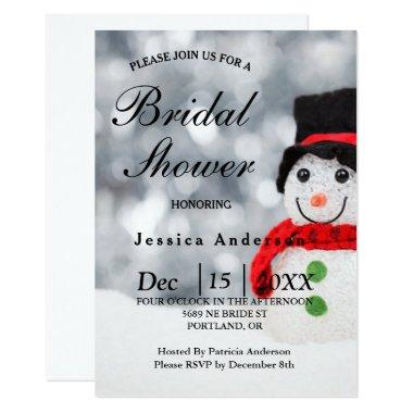Winter Snowman w Red Scarf & Top Hat Bridal Shower Invitations