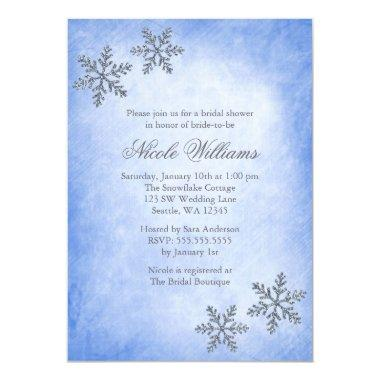 Winter Sparkle Snowflakes Blue Bridal Shower Invitations