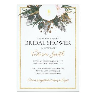 Winter white floral bridal shower Invitations