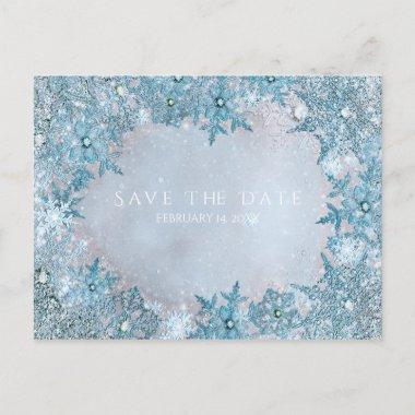 Winter Wonderland Snowflakes Blue Save the Date Announcement PostInvitations