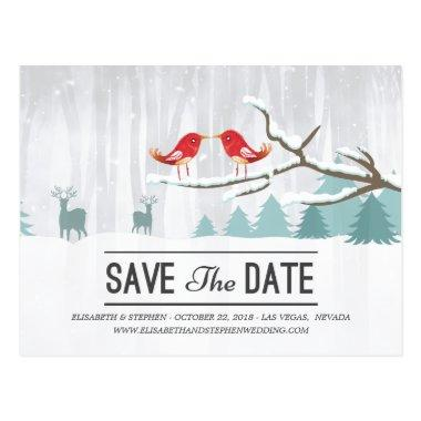 Wonderland Birds Deer Winter Wedding Save the Date Post