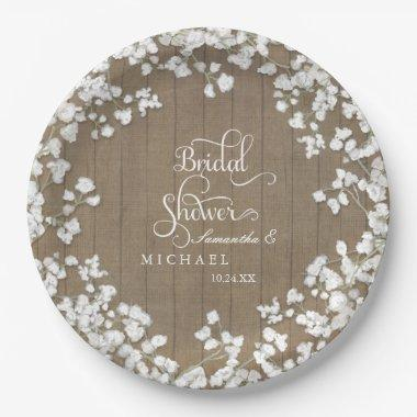 Wood Board  Decor Script Babys Breath Paper Plate