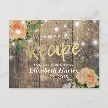 Wood Floral String Lights Bridal Shower Recipe Invitation PostInvitations