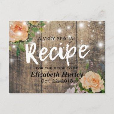 Wood Floral String Lights  Recipe Invitation Post