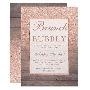 Wood rose gold glitter brunch bubbly