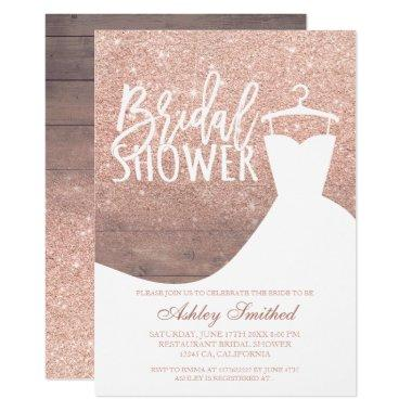 Wood rose gold glitter rustic dress Bridal shower Invitations