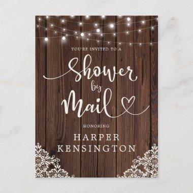 Wood String Lights Lace Bridal Shower by Mail Invitation PostInvitations