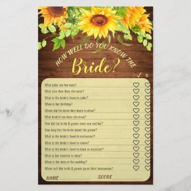 Wood Sunflower Blossom Greenery Bridal Shower Game