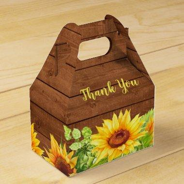 Wood Sunflower Rustic Wedding Favor Box