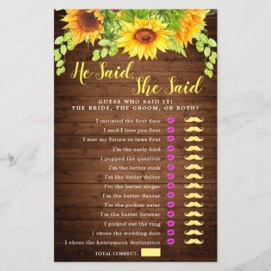 Wood Sunflowers Double-Sided Bridal Shower Game