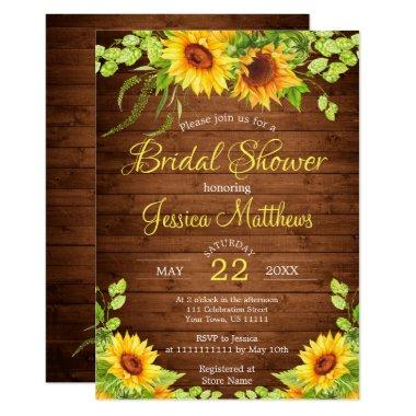 Wood Sunflowers Rustic Bridal Shower Invitations