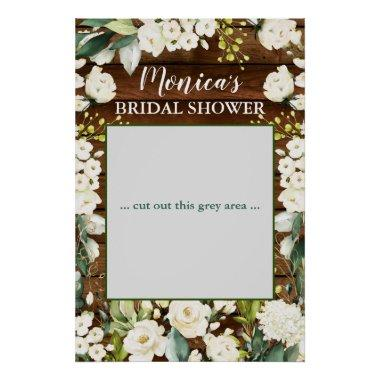 Wood & White Rose Floral Bridal Shower Photo Prop Poster