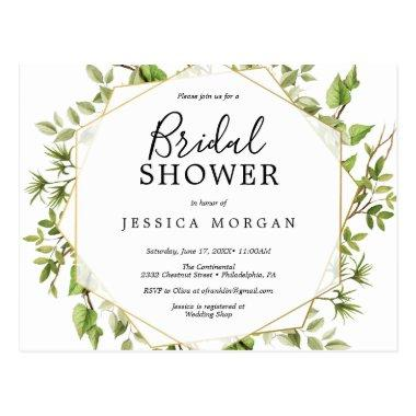Woodland Greenery Bridal Shower Invitation PostInvitations