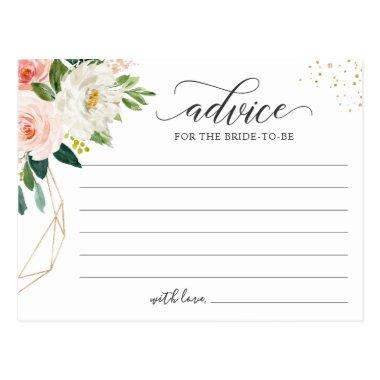 Words of Advice Card Modern Blush Pink Floral