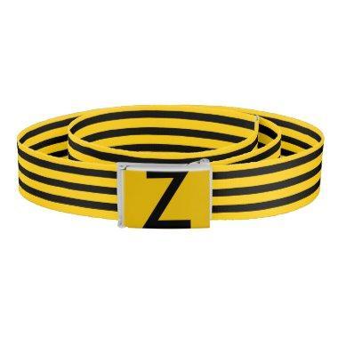 Yellow and Black Stripes Monogram Belt