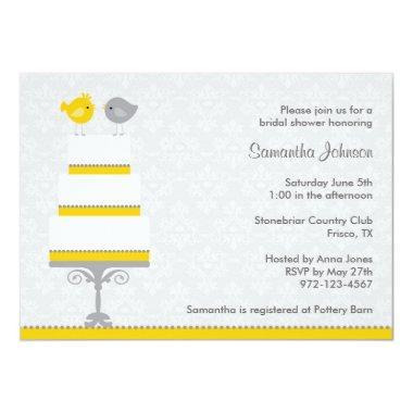 Yellow and Grey Love Birds  Invitatio