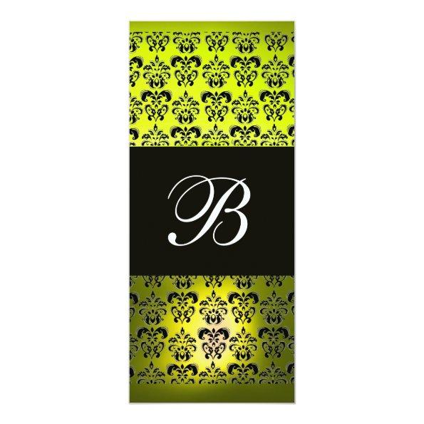 460 yellow black damask monogram white invitations