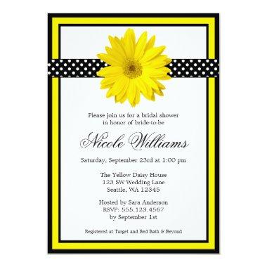 Yellow Daisy Polka Dots Bridal Shower Invitations