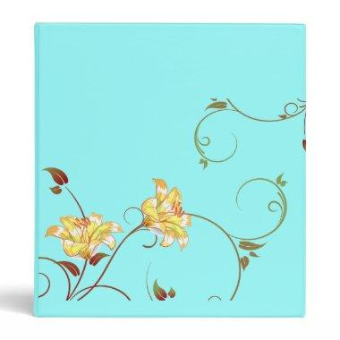 Yellow Flowers,Turquoise Binder