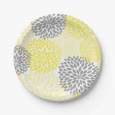 Yellow Gray Dahlia Baby Shower / Bridal plate
