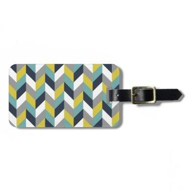 Yellow Gray Green Blue Navy Herringbone Chevron Luggage Tag