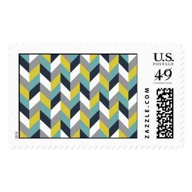 Yellow Gray Green Blue Navy Herringbone Chevron Postage