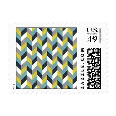 Yellow Gray Green Blue Navy Herringbone Chevron Postage
