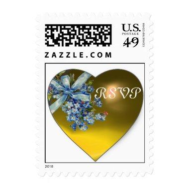 YELLOW HEART & FORGET ME NOTS WEDDING PARTY RSVP POSTAGE