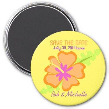 Yellow Hibiscus Flower Custom Magnet Favor