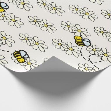 Yellow Honey Bee & White Daisy Pattern Cream Wrapping Paper