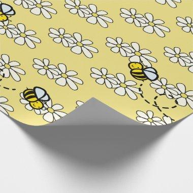 Yellow Honey Bee & White Daisy Pattern Wrapping Paper