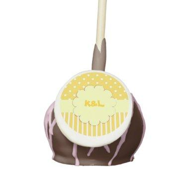 Yellow Monogram With Polka Dots Cake Pop
