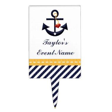 Yellow Navy Blue Anchor Nautical Cake Pick Topper
