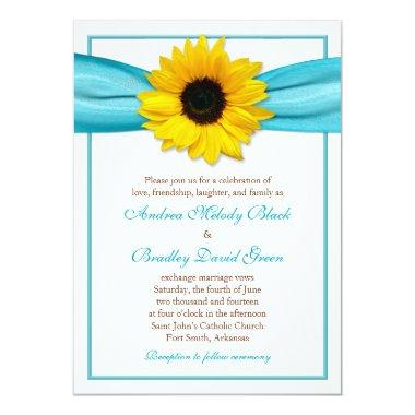 Yellow Sunflower Aqua Ribbon Wedding Invitations