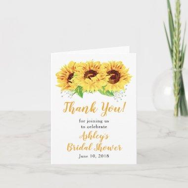 Yellow Sunflower Bridal Shower Thank You