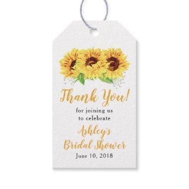 Yellow Sunflower Bridal Shower Thank You Gift Tags