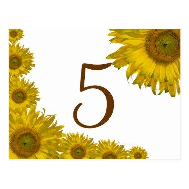 Yellow Sunflower Edge Table Number