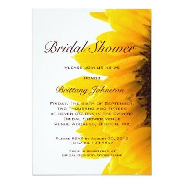 Yellow Sunflower Modern Bridal Shower Invitations