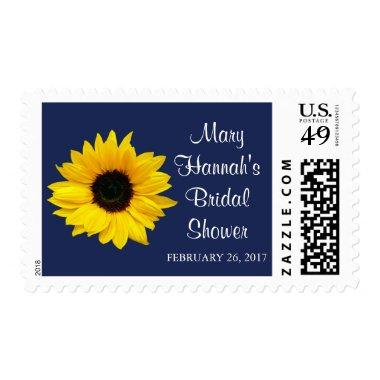 Yellow Sunflower Navy Blue  Postage