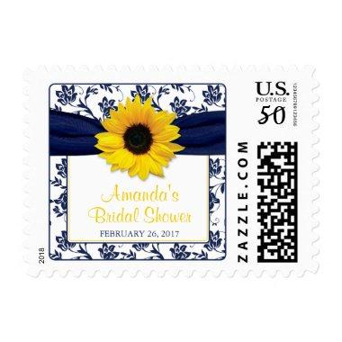 Yellow Sunflower Navy Blue Floral  Postage