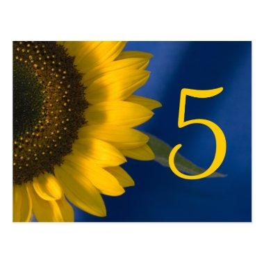 Yellow Sunflower on Blue Table Number