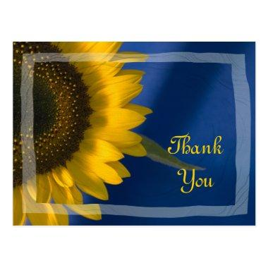 Yellow Sunflower on Blue Thank You PostInvitations