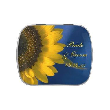 Yellow Sunflower on Blue Wedding Favor Jelly Belly Candy Tin