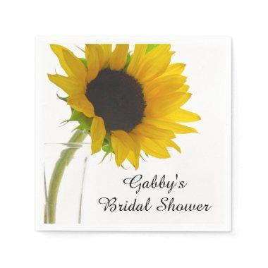 Yellow Sunflower on White  Napkin