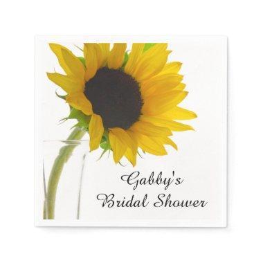 Yellow Sunflower on White  Napkin
